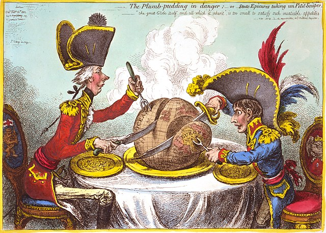 Downloaded from https://commons.wikimedia.org/wiki/File:Caricature_gillray_plumpudding.jpg  PermissionNo known restriction on publication.