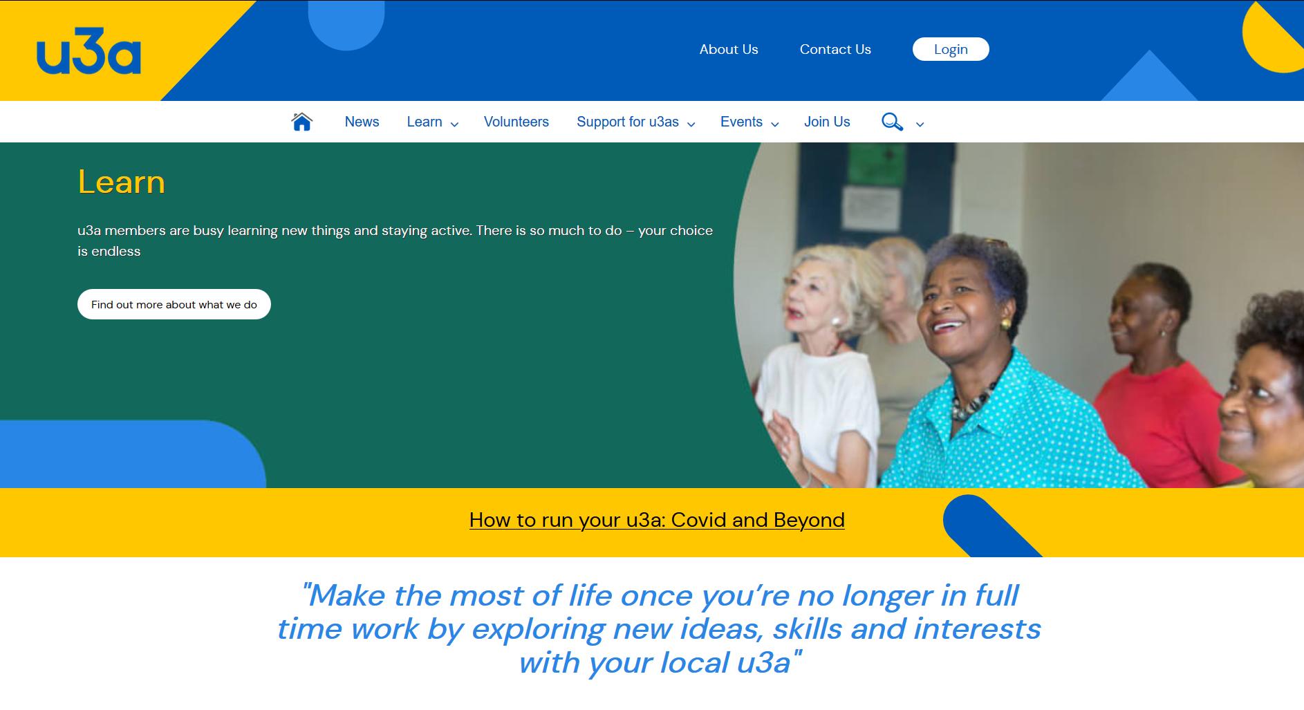 National u3a Website Home Page